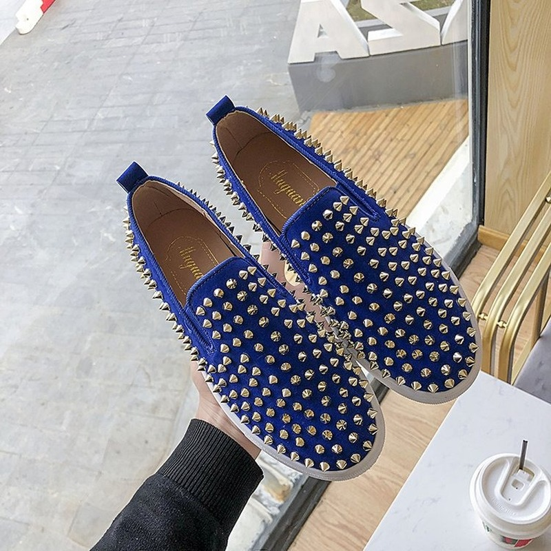 2020 Fashion Hot Men Rivets Studded Flat Shoes Man Platform Creepers Espadrilles Men Flats Sneakers  Brand Off White Sneakers