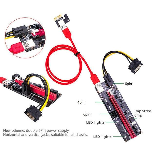 6pcs Newest VER009 USB 3.0 PCI-E Riser VER 009S Express 1X 4x 8x 16x Extender Riser Adapter Card SATA 15pin to 6 pin Power Cable 3