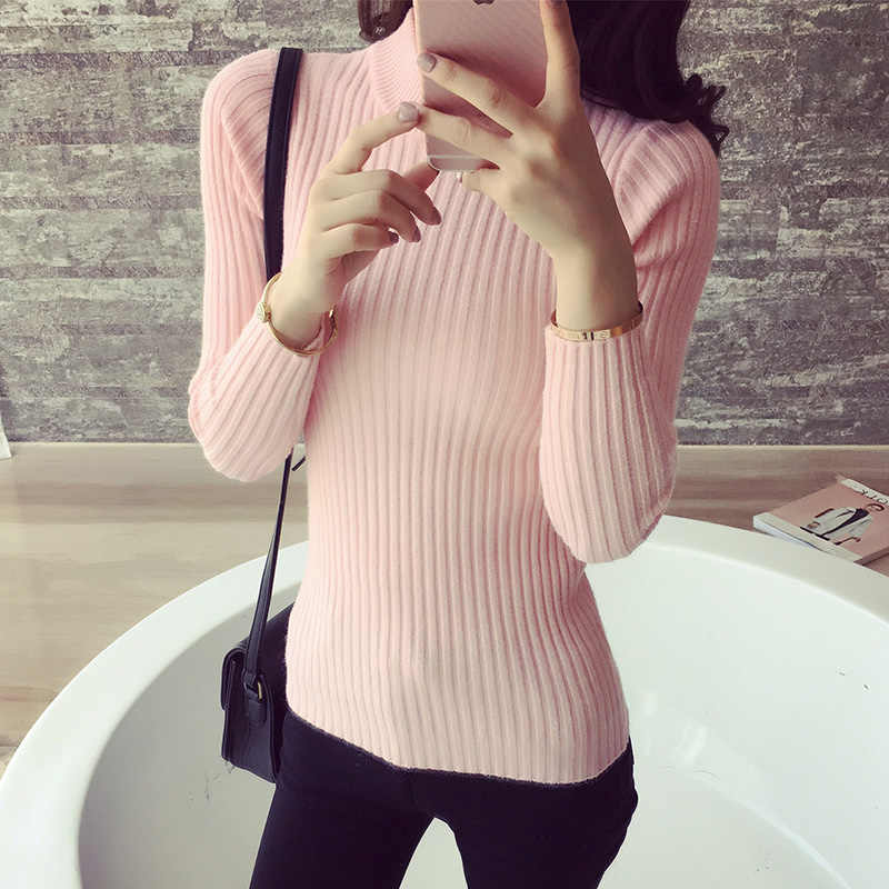 2019 Women Sweater Slim Half High Collar Elasticity Pullovers For Women Bottoming Knited Jumper Casual Winter Warm Sweater Woman