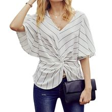 Women Short Batwing Sleeves Chiffon Tops Stripes Printed Ruched Twist Knotted Front Blouse Sexy V-Neck Empire Waist Shirts S-2XL