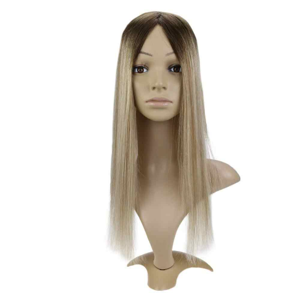 Full Shine Silk Base Invisible Hair Piece With Clips 100% Remy Human Hair Crown Hair Extensions Mono Hair Topper #3/8/22 13*13cm