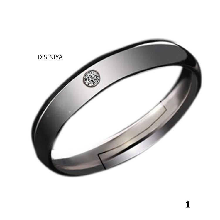 2020 nouvelle mode strass incrusté ouverture réglable argent plaqué Couple bague pour saint valentin cadeau anneau-011999