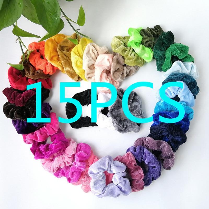 20/15/9PCS Velvet Scrunchie Women Girls Elastic Hair Rubber Bands Accessories Gum For Women Tie Hair Ring Rope Ponytail Holder - Цвет: B