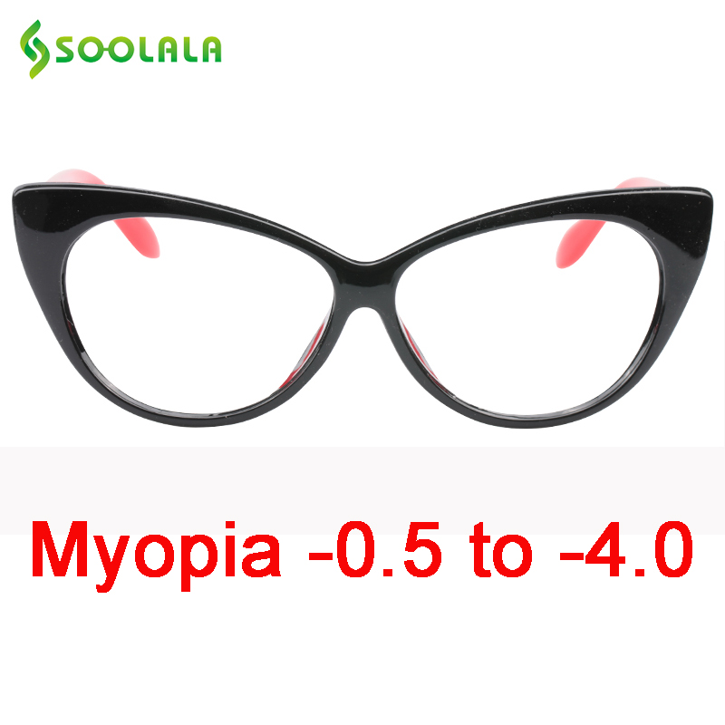 SOOLALA Cat Eye Myopia Glasses Prescription Women Computer Optical Frames Eyewear -0.5 -0.75 -1.0 -1.5 -2.0 -2.5 -3.0 -3.5 -4.0