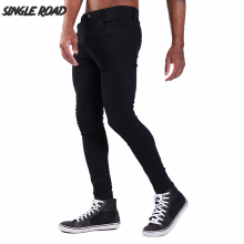 Single Road Super Skinny Jeans Men 2019 Fashion Denim Pants Man Elastic Waist Black Mens Brand Slim Stretch Jeans Skinny Male envmenst brand men korean jeans elastic waist drawstring men casual fashion slim skinny warm denim pants big size hip hop