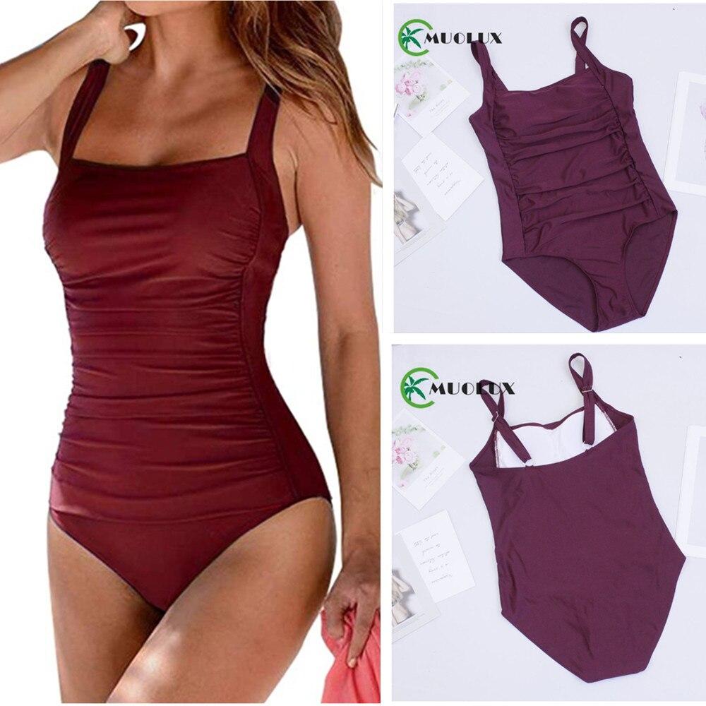 2020 New Vintage One Piece Swimsuit Women Swimwear Push Up Bathing Suit Ruched Tummy Control Monokini Retro Plus Size Beachwear|Body Suits|   - AliExpress