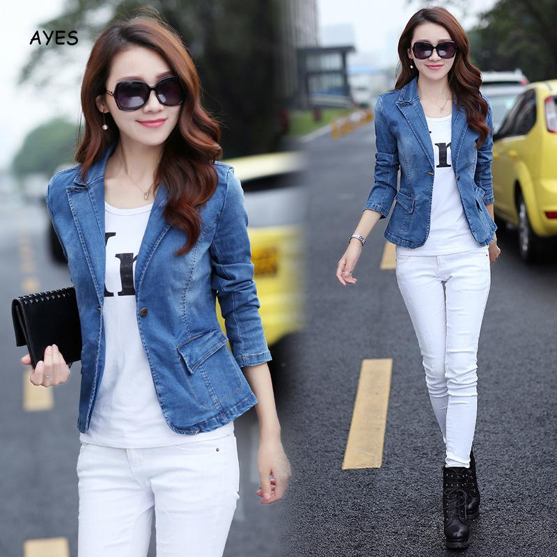 2019 Autumn Long Sleeve Denim Blazer Coat Women Slim Jean Coat Lapel Blue Denim Jacket Streetwear Jean Blazers Outerwear Female