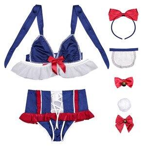 Image 5 - Sexy Vrouwen Lingerie Sneeuwwitje Cosplay Kostuum Maid Uniform Leuke Kawaii Bunny Staart Ondergoed Lolita Jurk Bra En Panty Set