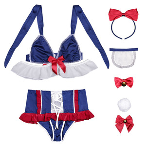 Image 5 - Sexy Women Lingerie Snow White Cosplay Costume Maid Uniform Cute Kawaii Bunny Tail Underwear Lolita Dress Bra And Panty Set