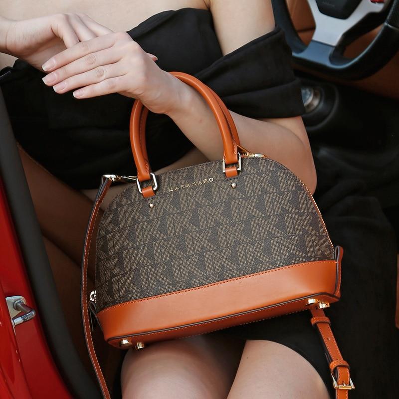 Women's Leather MK Women's Bag Fashion Europe And America Shell Bag Single Shoulder Slant Span Small Bag Casual Totes Crossbody
