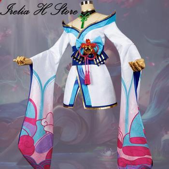 רוח פריחת Ahri LOL Cosplays רוח פריחת Ahri Cosplay תלבושות יכול תפור לפי מידה קימונו שמלת נקבה