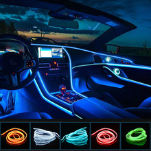 1M/2M/3M/5M Car Interior Led Decorative Lamp EL Wiring Neon Strip For Auto DIY Flexible Ambient Light USB Party Atmosphere Diode