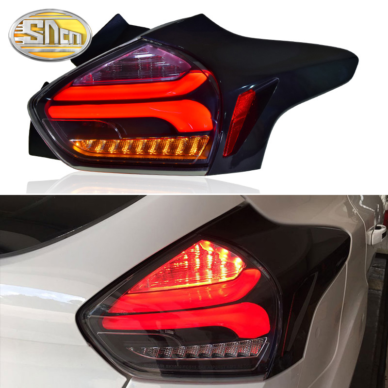 LED Taillights For For Focus 3 MK3 hatchback 2015-2018 Tail light Assembly DRL+ Dynamic Turn Signal + Brake + Reverse lights