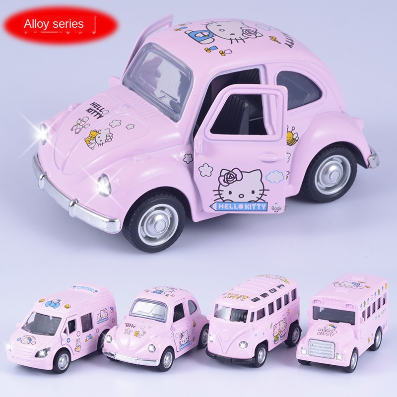 Q-version Alloy Acoustooptic Force Car Model Openable Cartoon Pink KT Mini Bus Alloy Car Model