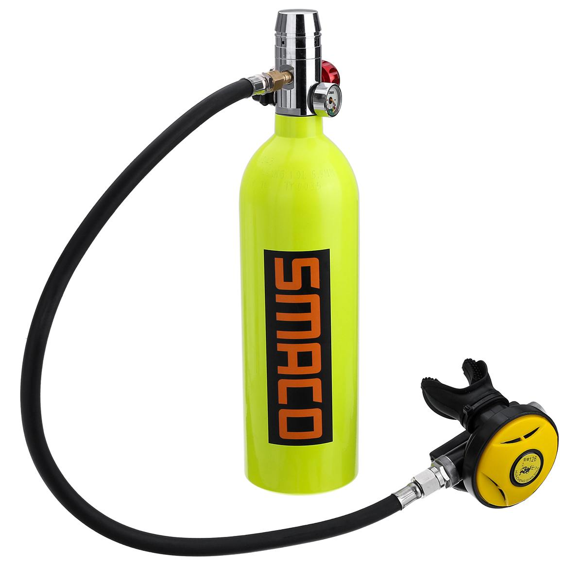 SMACO 1L Scuba Oxygen Cylinder Air Tank First Level Pressure Reducing Valve Second Level Snorkeling Breathing Valve Regulator