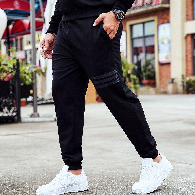 Autumn Men Elastic Waist Casual Men's Trousers Plus-sized Athletic Pants Men's Loose-Fit Fat Lard-bucket Harem Pants