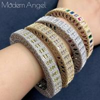 ModemAngel Luxury Delicate Arabia Bangle Ring Set Women Full Micro Cubic Zircon Pave Wedding Saudi Arabic Dubai Jewelry Sets