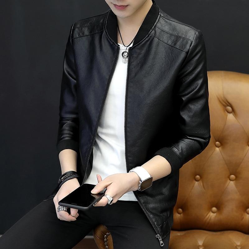 2019 Spring New Style Leather Coat MEN'S Jacket Slim Fit Coat Korean-style Casual Trend Teenager Baseball Uniform Students
