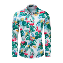 2019 Europe And The New Large Size Mens Shirt Spring Summer Cotton Long Sleeve Flamingo Printed