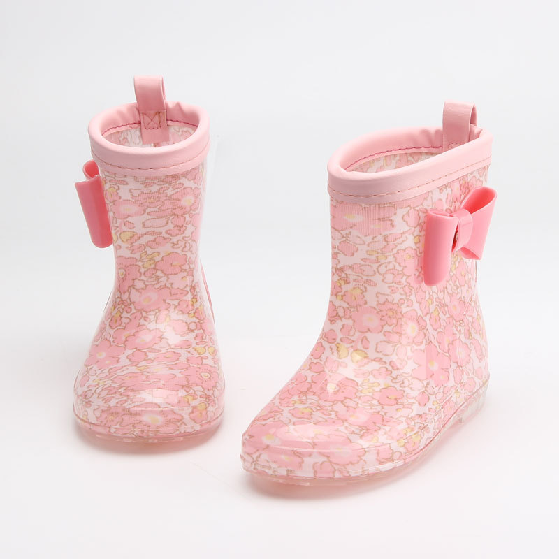 Kids Toddler Girls Princess Bow Cartoon Rain Boots Wellington Ankle Water Shoes