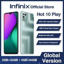 Infinix 10 jogo quente 2gb + 32gb/4gb + 64gb versão global telefone inteligente 6.82 hd hd hd + display 6000mah helio g35 telefone móvel