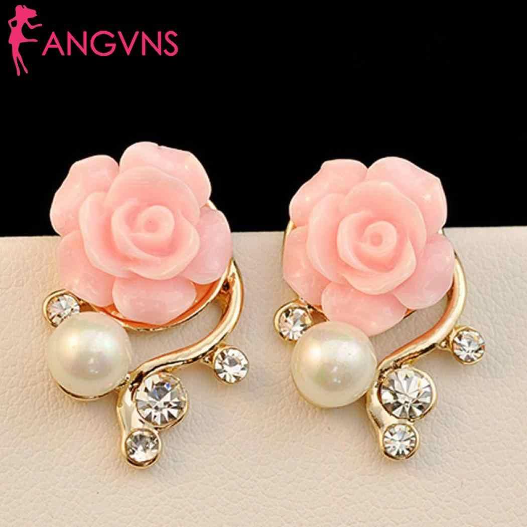 Femmes bijoux strass fausse perle fleur forme boucles d'oreilles oreille goujon décontracté, rue, fête, Club, extérieur 5.5g