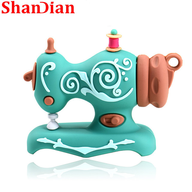 SHANDIAN Cartoon USB2.0 Flash Drive Sewing Machine Pen Drive Pen Drive 4GB 16GB 32GB 64GB 128GB U Disk Wedding Commemorative G