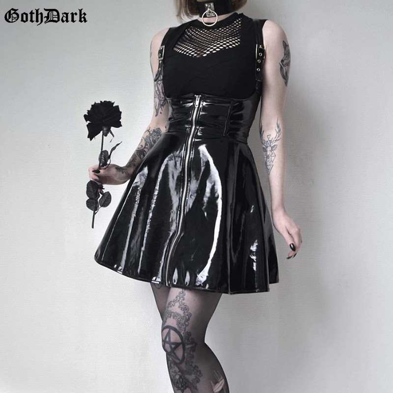 Goth Dark  Solid Leather Vintage Skirts Zipper Pleated Slim Gothic Skirt Lady Trendy High Waist Black Short Skirt Female Summer