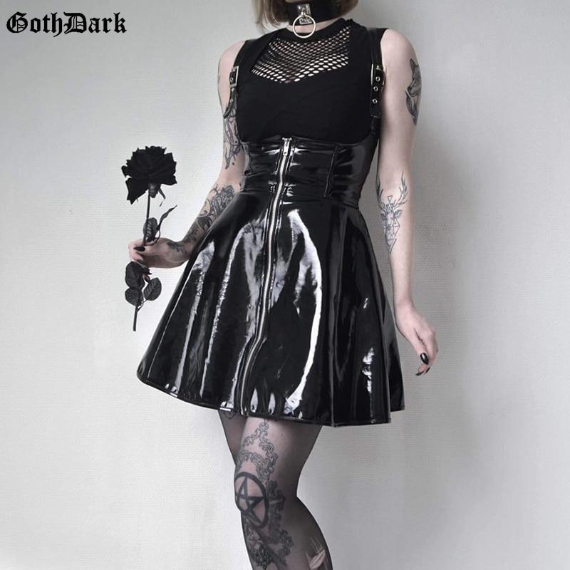 Goth Dark  Solid Leather Vintage Skirts Zipper Pleated Slim Gothic Skirt Lady Trendy High Waist Black Short Skirt Female Summer
