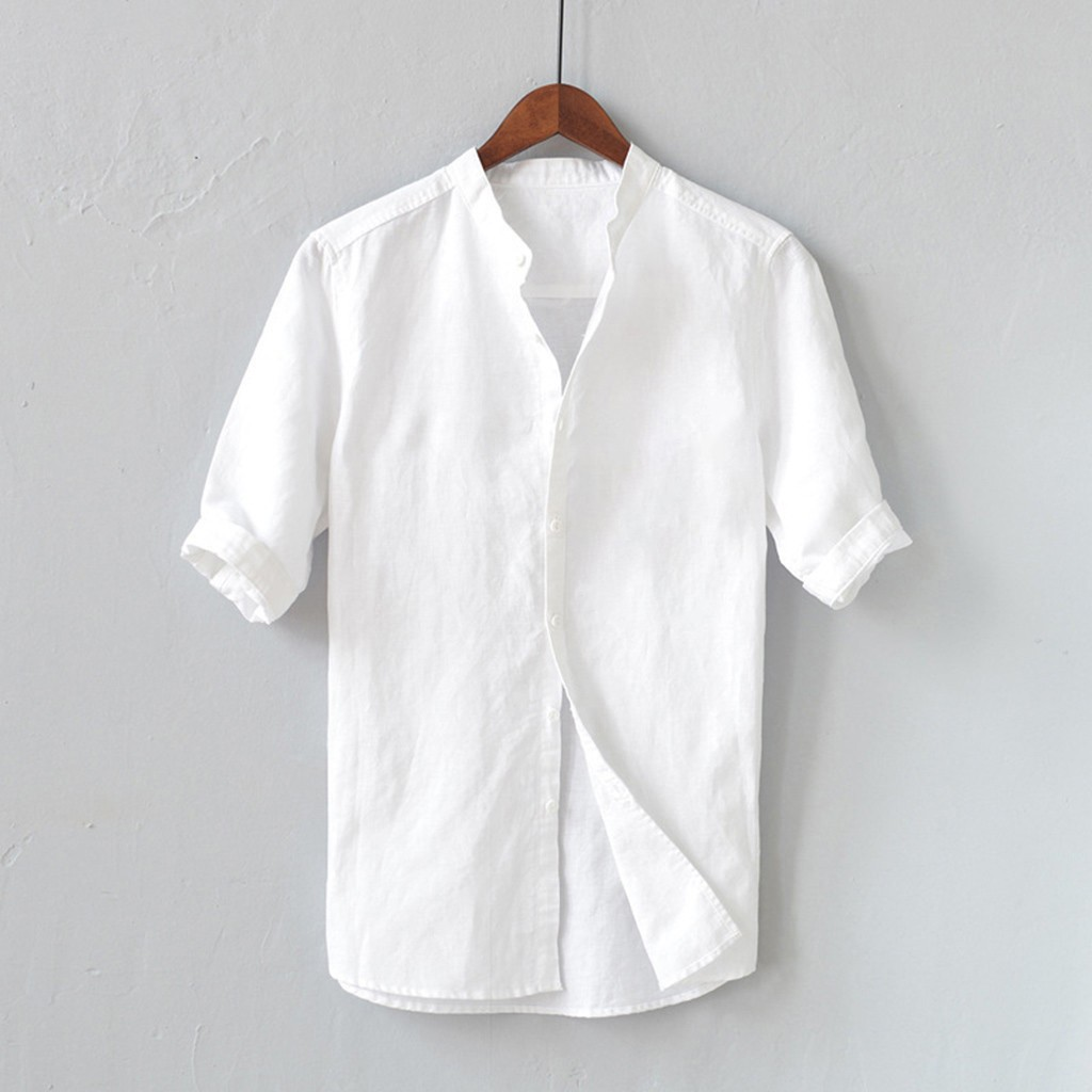Men Shirts Mens White Shirt Linen Summer Men's Breathable Solid Color Button Cotton Shirt Five-point Sleeve Sleeve Camisa FG72