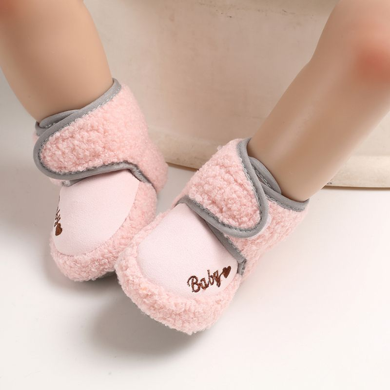 Unisex Baby Shoes 0-18M New Spring Winter Love Pattern Decoration Velvet Warm Cute Toddler Shoes Boots Lovely Toddler Shoes