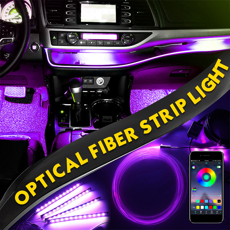 4Pcs RGB LED Strip/Optical Fiber Strip/LED EL Strip Light Set APP Control For Car Interior Music Decoration