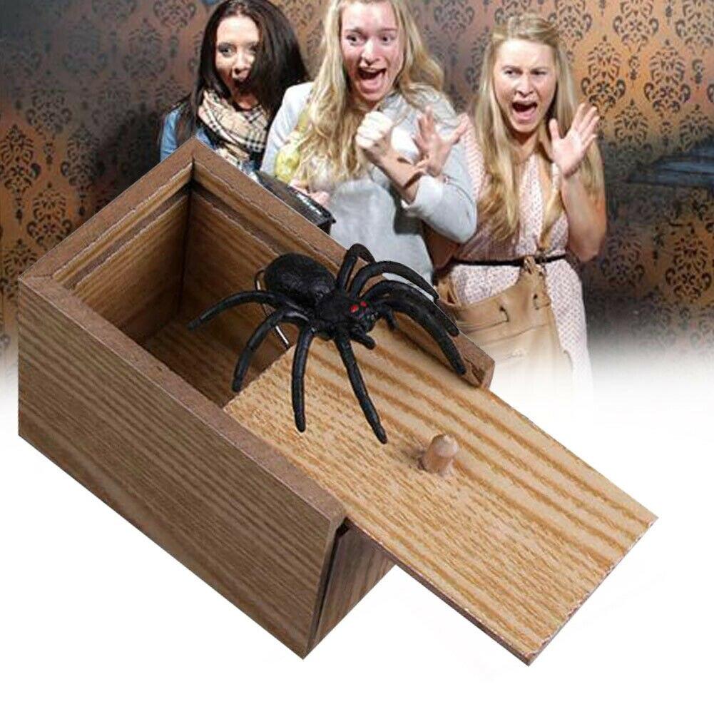 Engraçado Susto Rato Escondido no Caso de Aranha Caixa Truque Joke Prank-De Madeira Brinquedo do Jogo REINO UNIDO