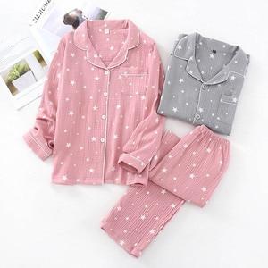 Image 2 - Spring & Autumn New Couples Pajamas Comfort Gauze Cotton Men And Women Sleepwear Star Printed Lovers Homewear Loose Casual Wear