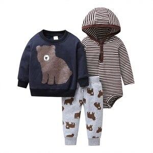 Image 2 - بيبي بوي بدلة جاكت مزود بغطاء للرأس + بدلة + بنطلون بدلة لحديثي الولادة ملابس للرضع 2020 ربيع الخريف ملابس حديثي الولادة
