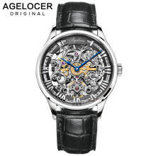 AGELOCER Luxury brand Clock Men Automatic Mechanical Watch Skeleton Military Relogio Male Montre Men Watches Relojes Hombre relogio masculino 2016 skone men s luxury brand military mechanical watches steel hollow skeleton watch relojes hombre