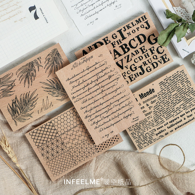 Retro Geometric Plant Alphabet Background Stamp DIY Wooden Rubber Stamps For Scrapbooking Stationery Scrapbooking Standard Stamp