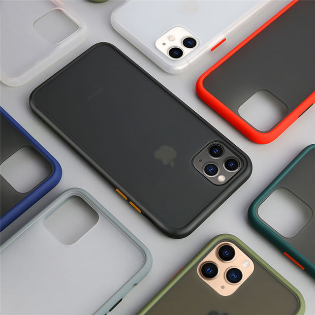 Bumper Phone Case For iPhone 11 Pro Max X XR XS Max 7 8 6 6S Plus Luxury Contrast Color Frame Matte Hard PC Cover For iPhone 11