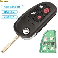 Jingyuqin 4 botões de controle remoto chave flip carro chave 2002-2008 433 mhz 4d60 chip para jaguar x-type s-tipo 1999-2009 xj xjr