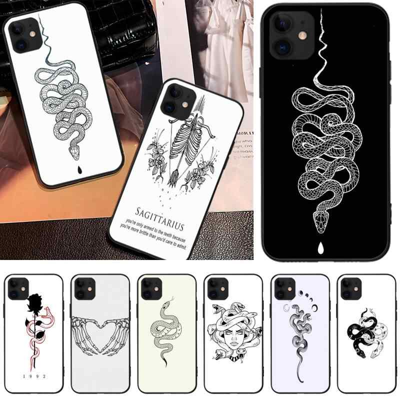 Ivits Tattoo Snake Diy Luxe Telefoon Case Voor Iphone6 6 S Plus 7 8 7 8 Plus X Xr Xs max 11 Pro Max Cover