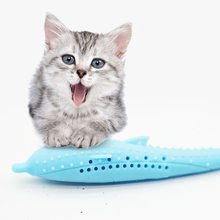 1pcs Silicone Catnip Toys Simulation Fish Shape Pet Cat Chew  Funny Interactive Plush Toy Clean Teeth Toothbrush