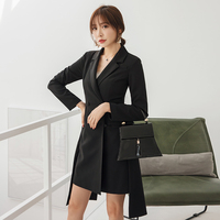 YIGELILA Autumn New Arrivals Black Dress Turn Down Collar With Pokets Short Office Lady Double breasted Dress 65277
