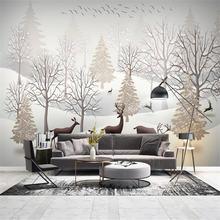 Большие 3d обои роспись на заказ ручная скандинавский лес Лось