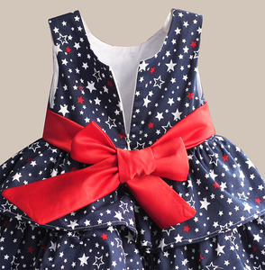 Image 4 - Star Print Red Bow 100% Cotton Layers Baby Girls Dress 1 year birthday party wedding kids clothes infant toddler wear 3M 6M 12 4