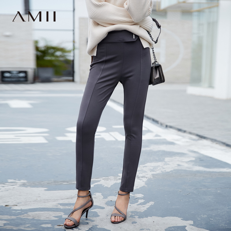 Amii Minimalist High Waist Pencil Pants Autumn Women Solid Slim Fit Female Casual Long Pants 11765500