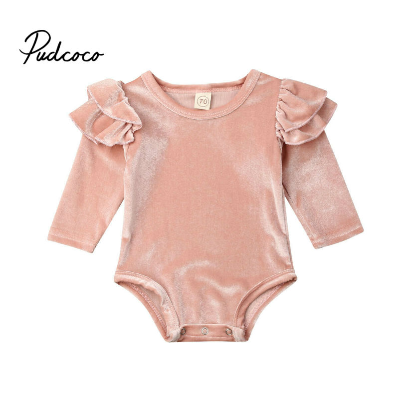 Gold Velvet Newborn Baby Girls Bodysuits Cute Long Sleeve Baby Girls Clothes 2019 Solid Pink One Piece Bodysuits Girls Clothing