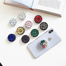 Mobile phone holder shiny diamond extension bracket finger grip base top support mobile clip