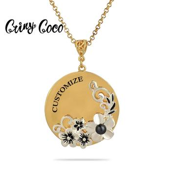 Gold Color Customized Name Necklaces Pendants 2020 Big Round Flowers Initials Letter Necklace Alphabet Jewelry Gifts for Women