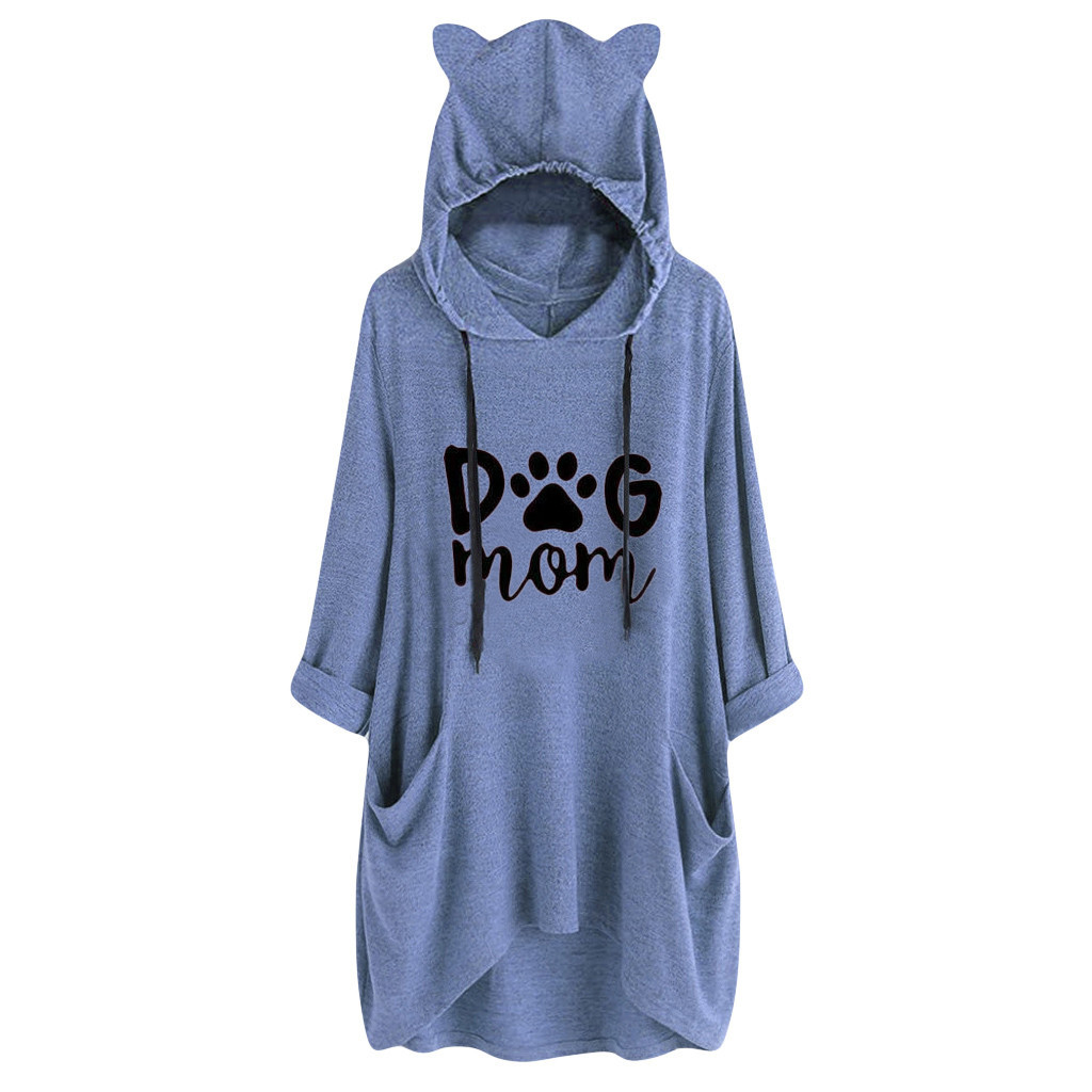 JAYCOSIN Fashion Women Dog Letter Print Long Sleeve Sweatshirt Elegant Chic Casual Ear Blouse Hooded Short Sweatshirt