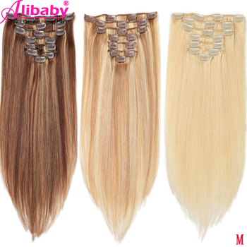 Straight Clip in Human Hair Extensions Brazilian Remy Hair Clip ins Pure and Piano Color Human Hair 8pcs/set 100G Full Head M sindra indian straight remy hair clip in human hair extensions blonde color 60 full sets 6pcs set 100g 120g